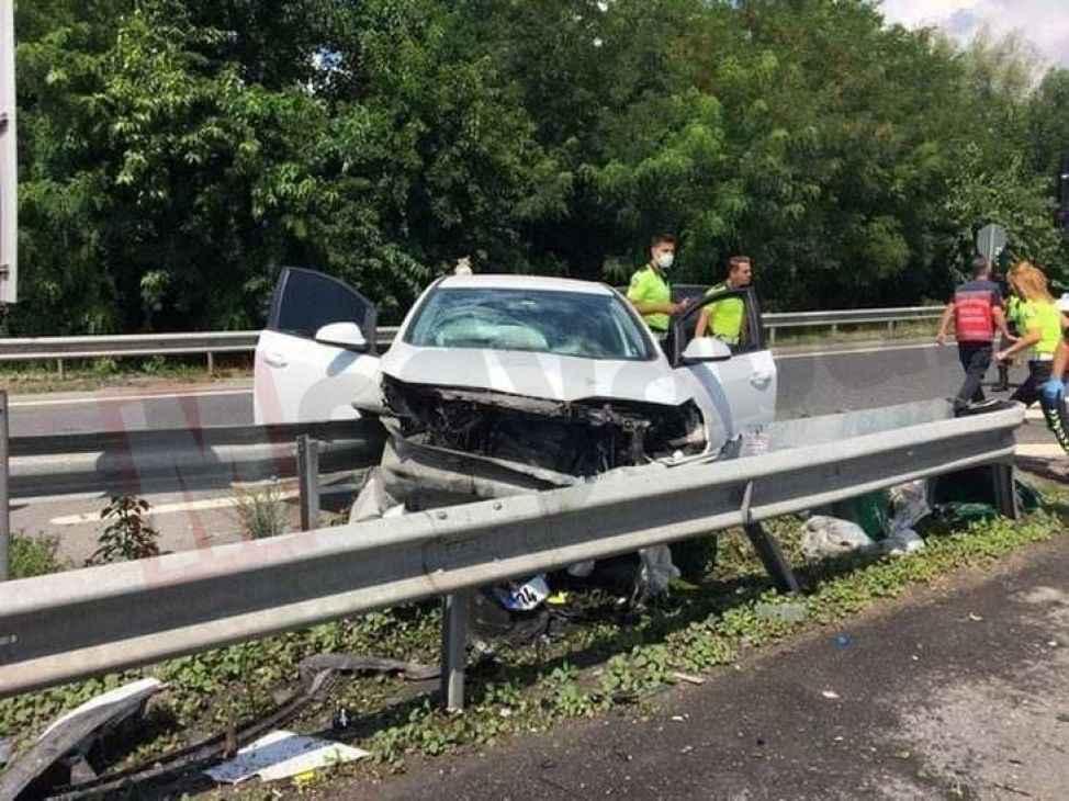 TEM Hendek geçişinde kaza! 4 yaralı