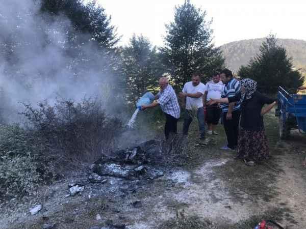 Acelle yaylasında ateşe verilen çöpler az kalsın ormanı yakıyordu!