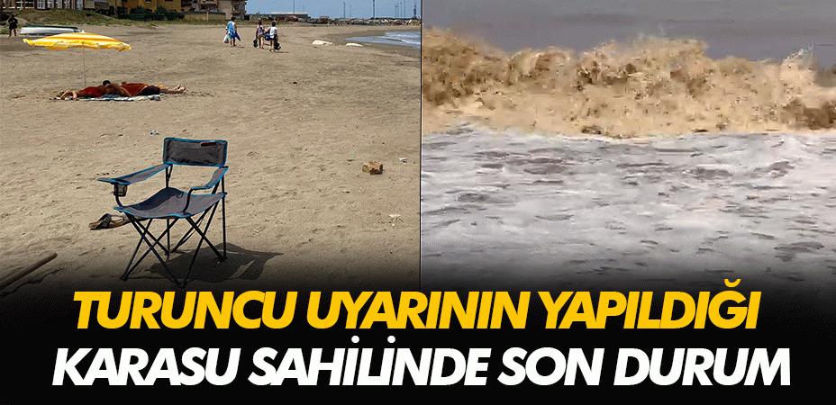 Turuncu uyarının yapıldığı Karasu'da sahilde son durum