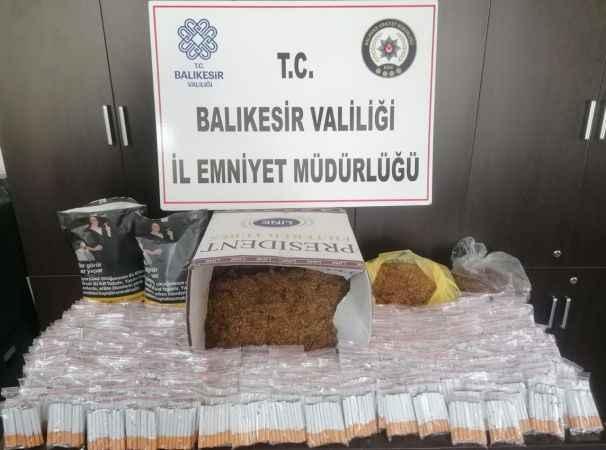 Balıkesir'de kaçak tütün ve uyuşturucu hap operasyonu
