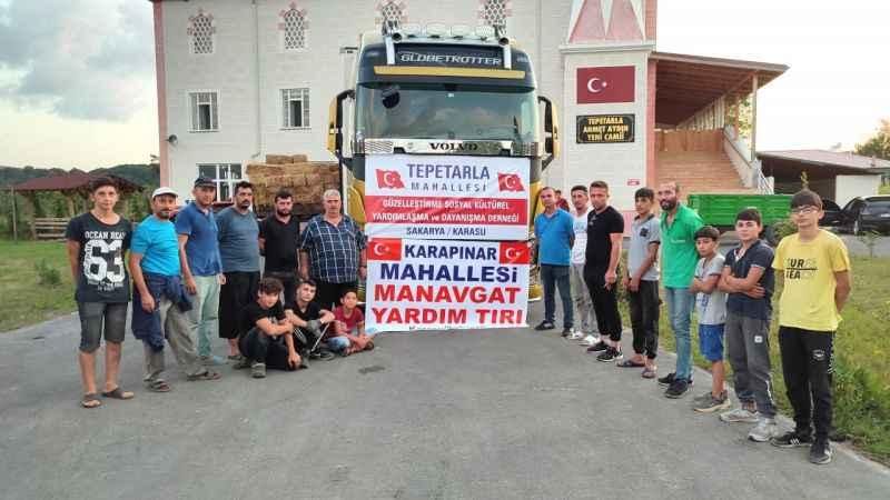 Mahallelerin dayanışmasıyla toplanan 3 tır yardım yangınzedelere gönderildi