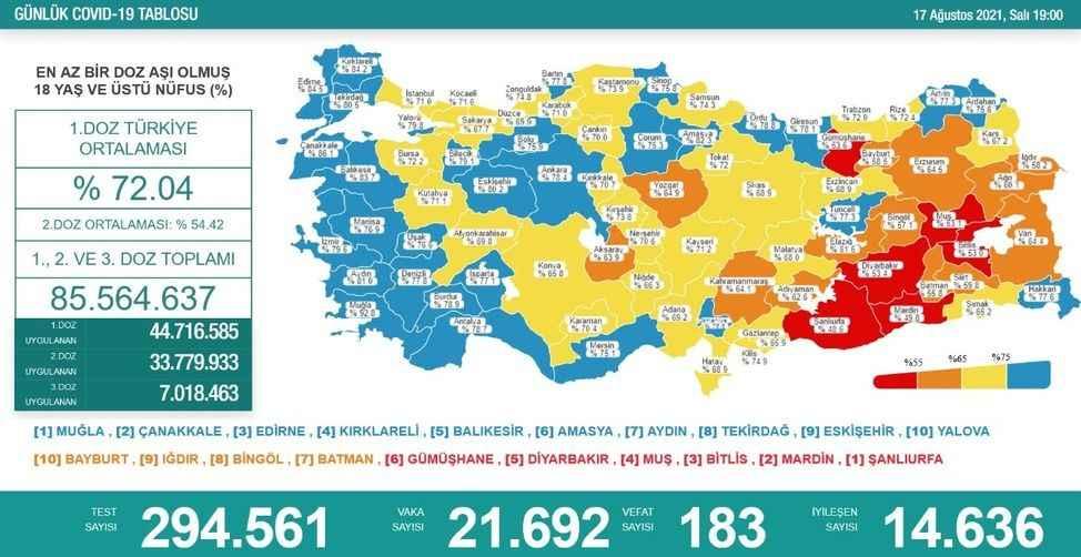 Risk haritasında düşük riskli il sayısı 31'e yükseldi, Sakarya sarı kategoride
