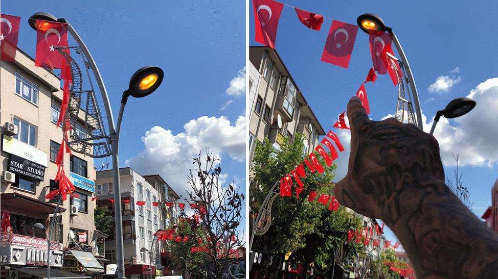 Çark Caddesi'nde gündüz yanan aydınlatma lambaları tepki çekti!