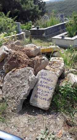 Babasının mezarına dökülen moloz yığınlarını görünce böyle tepki gösterdi