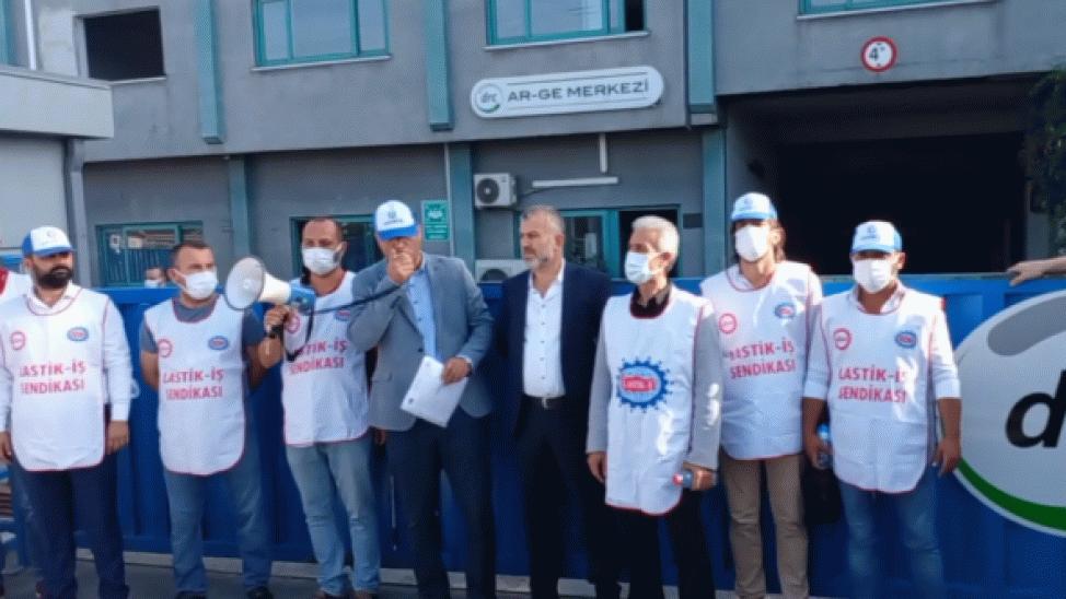 Lastik-İş fabrika önünden yetkililere seslendi