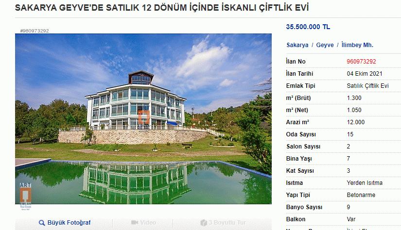 Şaban Dişli'nin çiftlik evi 35 milyon liraya satılığa çıktı