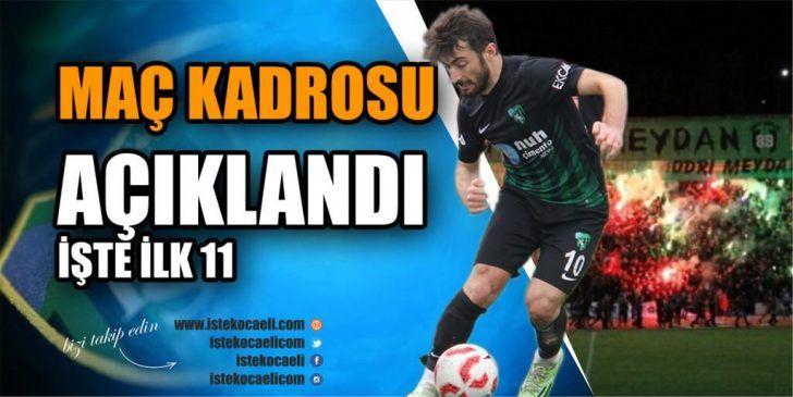 Kocaelispor – Diyarbekirspor Maçı İlk 11'ler