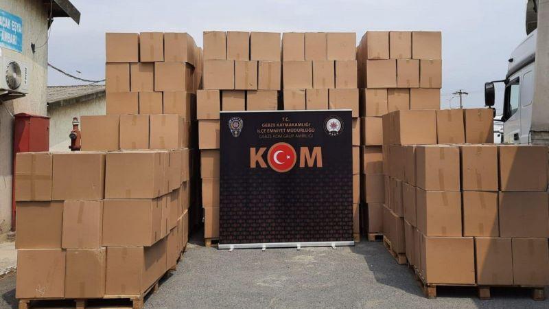 Kocaeli'de gümrük kaçağı 6 milyon 328 bin makaron ele geçirildi