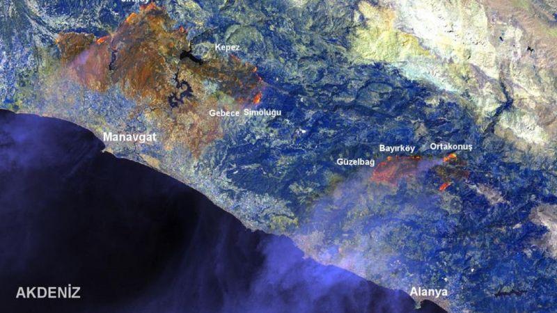 Manavgat'taki yangının etkilediği alan GTÜ tarafından haritalandırıldı