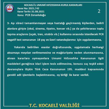 Kocaeli Valiliği'nden zorunlu pcr testi açıklaması