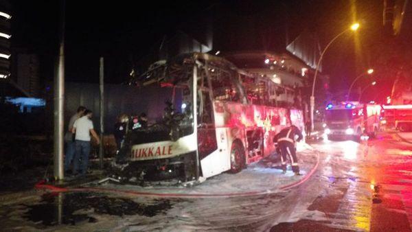 Ankara'da otobüs yandı ölü ve yaralılar var