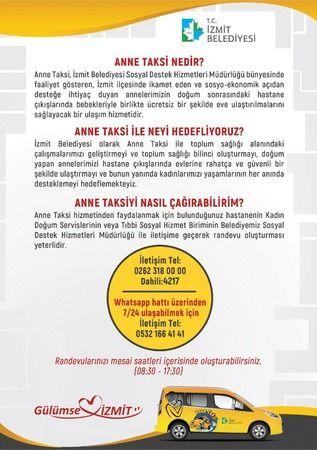 İzmit'te Anne Taksi  hizmeti sürüyor