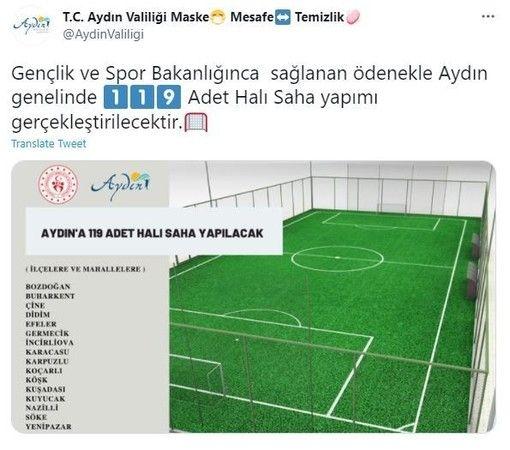 Aydın'a 119 halı saha yapılacak