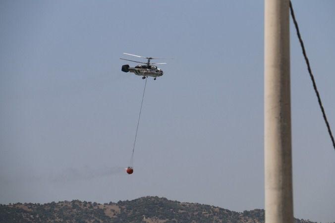 Helikopterlerin müdahalesi drone ile görüntülendi