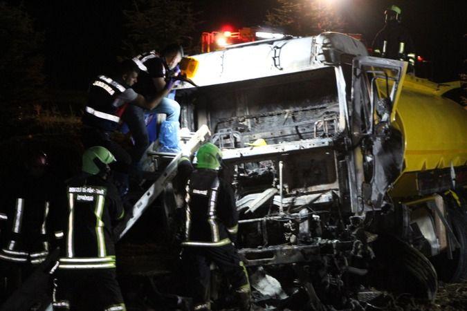 Tanker sürücüsünün feci ölümü