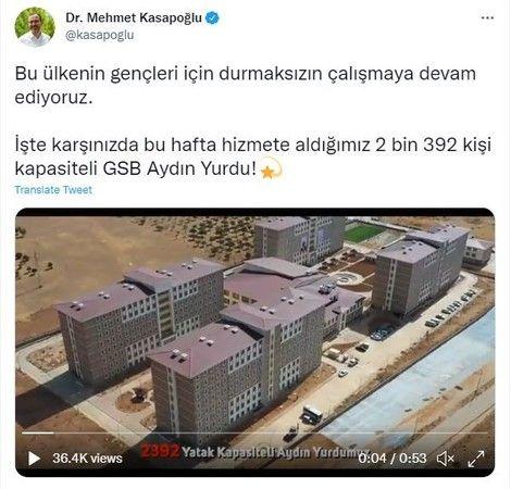 Bakan Kasapoğlu Aydın'daki yurdu paylaştı
