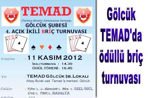Gölcük TEMAD'da ödüllü briç turnuvası
