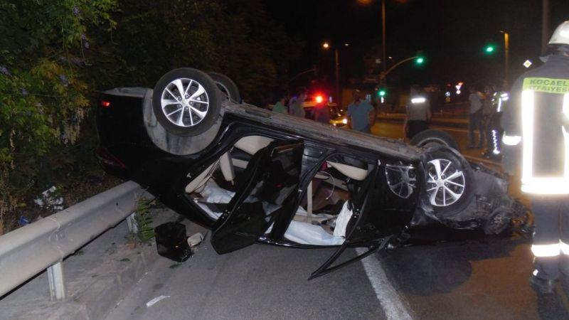 Feci kaza: Otomobil takla attı