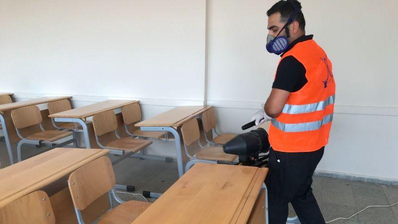 Sınav öncesi okullar dezenfekte edildi