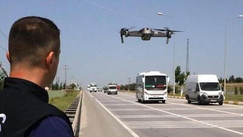 Trafikte kurallara uymayanlar 'drone'a takıldı