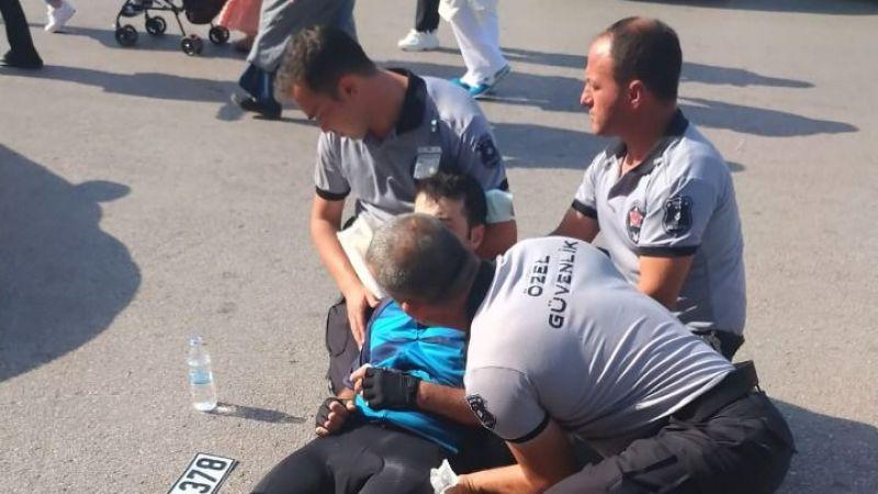 Kaza yapan bisikletliye ilk müdahale güvenlik personelinden