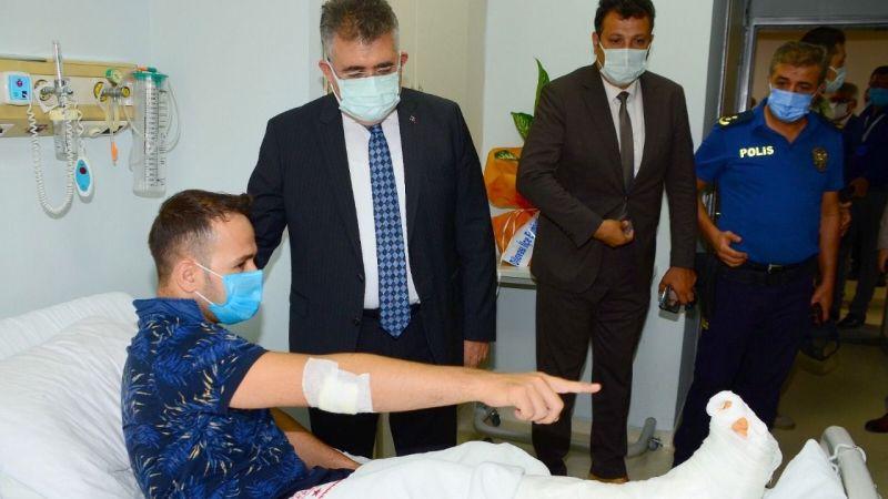 İl Emniyet Müdürü hastanede tedavi gören polis memurlarını ziyaret etti