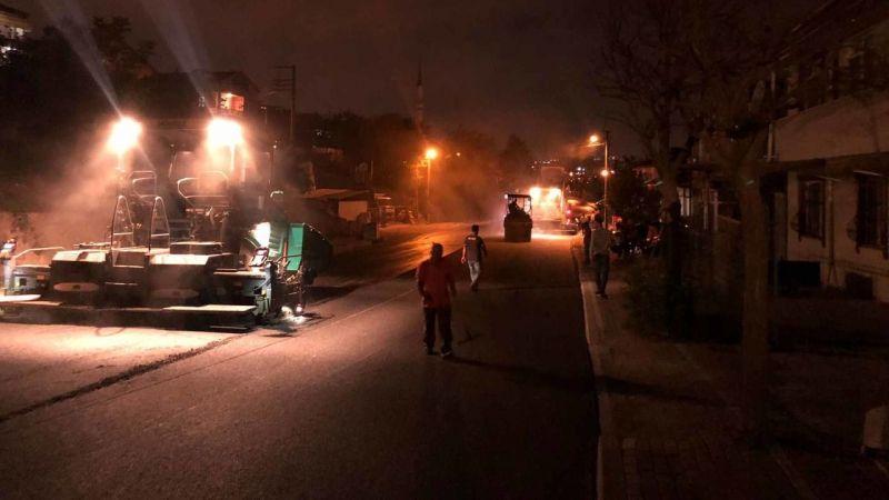 Çarşıbaşı Caddesi'nde asfaltlama gece yapılıyor