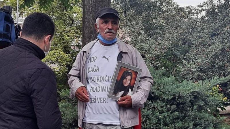 """Kızı, Kocaeli'de PKK tarafından dağa kaçırılan baba HDP Genel Merkezi önünde: """"Ben evladımı almadan kapınızdan kalkmam"""""""