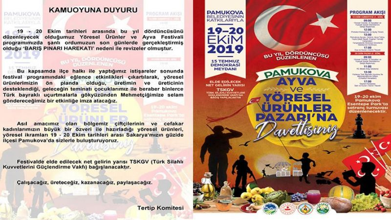 """Ayva Festivali programında son dakika """"Barış Pınarı Harekatı"""" değişikliği"""