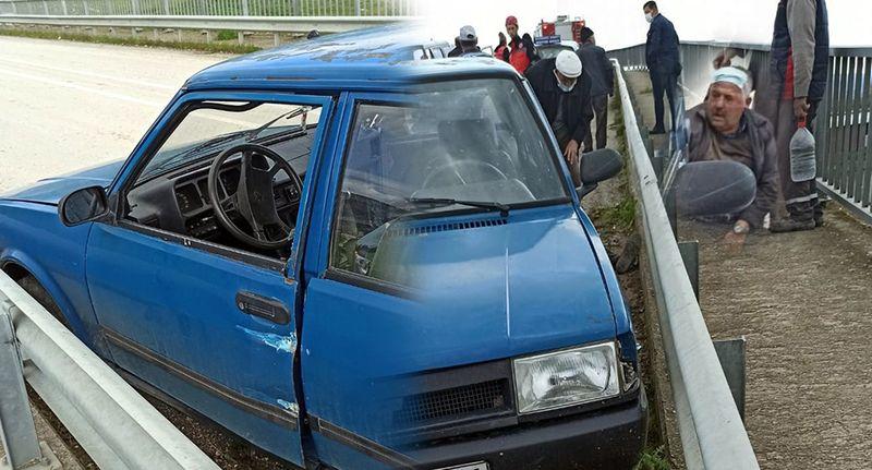 Otomobilini çalıştırmak için vur durayım dedi bariyerlere vurdu!