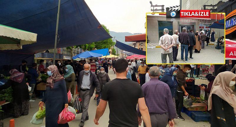 Pamukova'da günler sonra pazar tezgahları açıldı... Dikkat çeken yoğunluk