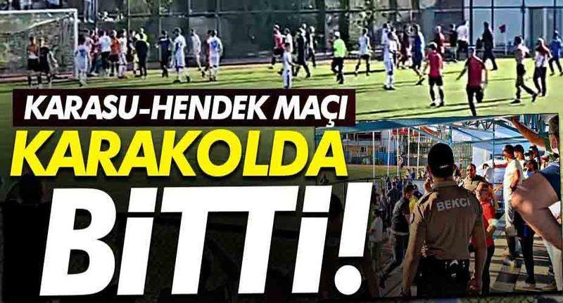 Karasu, Hendekspor maçında yumruk ve tekmeler havada uçuştu!