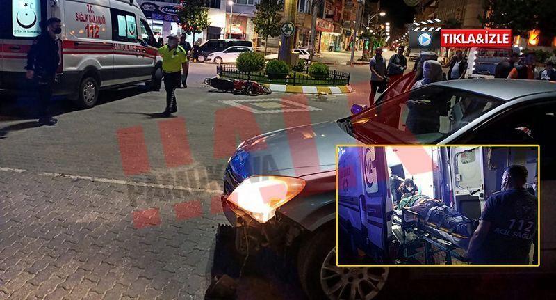 Pamukova'da motosikletle otomobil  çarpıştı... 2 yaralı!
