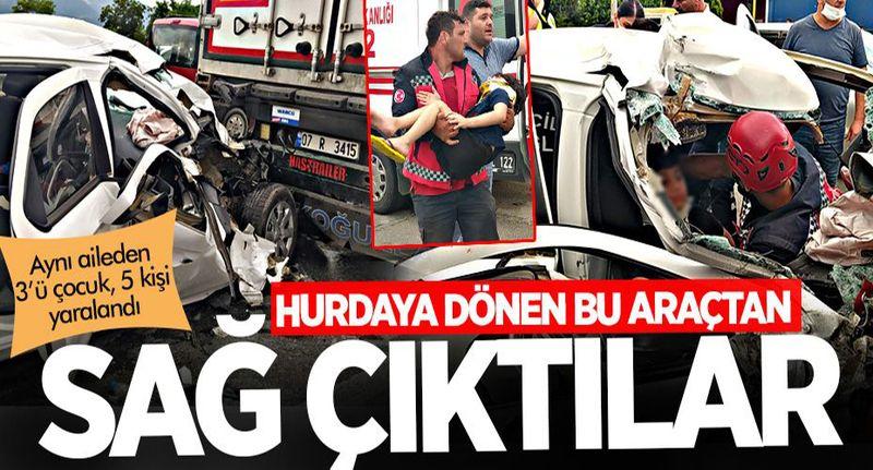 Pamukova'da otomobil TIR'a çarptı! Aynı aileden 3 çocuk 5 kişi yaralandı
