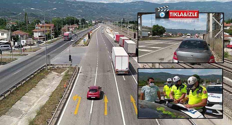Pamukova'da trafik ekiplerinden bayram tatili dönüşünde drone ile denetim