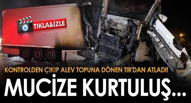 Gökgöz'de yol ayrım tabelalarına çarpan TIR alev alev yandı! 1 yaralı