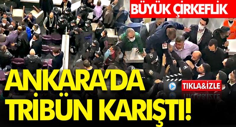 Ankaraspor-Sakaryaspor karşılaşmasında önce saha sonra tribün karıştı!