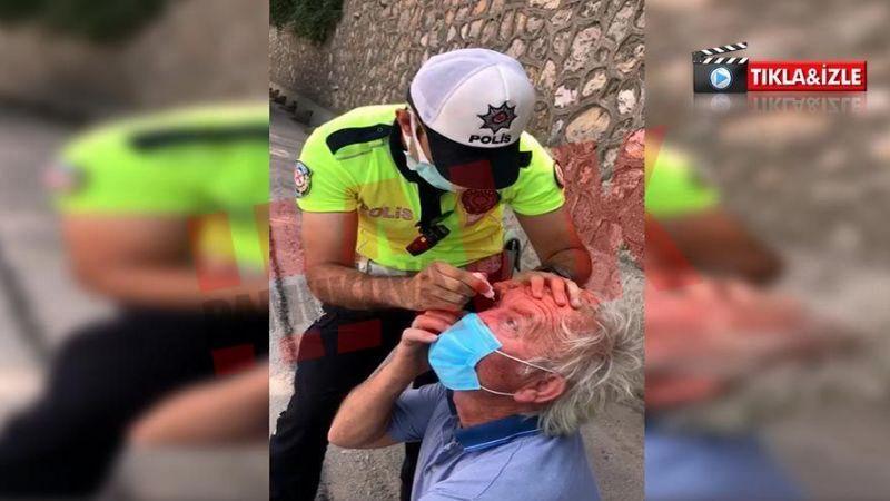 Trafik polisi gözlerinden rahatsızlanan TIR sürücüsüne böyle yardım etti…
