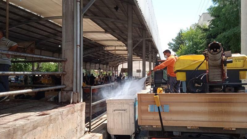 Urfa'da Kurban Kesim yerleri dezenfekte edildi