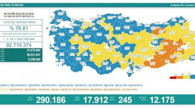 Koronadan 245 vefat, 17 bin 912 yeni vaka tespiti