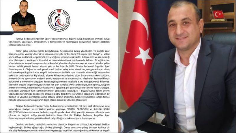 Aydın Yıldırım, Türkiye Bedensel Engelliler Spor Federasyonu başkanlığına Aday olduğunu Açıkladı