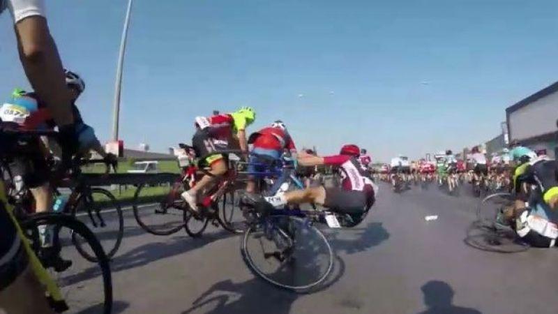 Bisiklet yarışındaki kaza yürekleri ağza getirdi