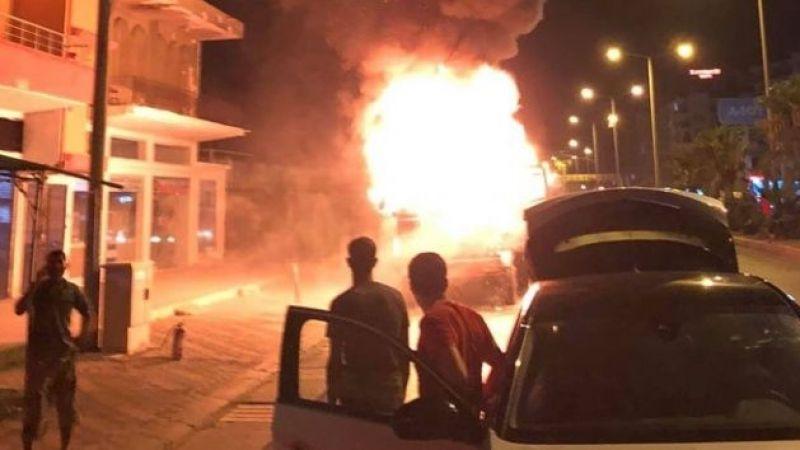 Seyir halindeki kamyonda yangın meydana geldi