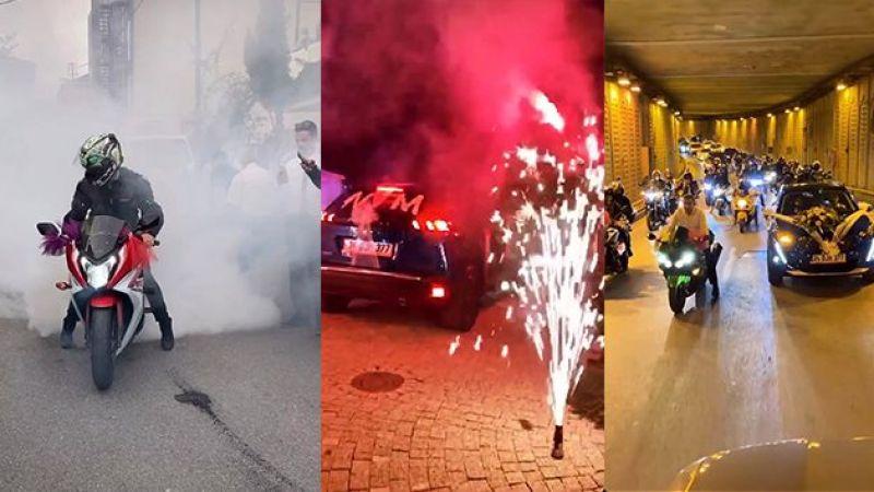 İstanbul'da patinajlı ve makaslı düğün konvoyu terörü