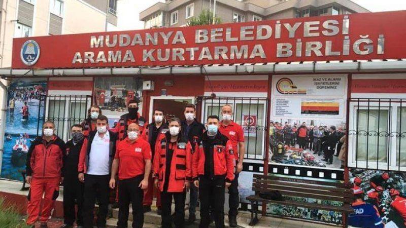 Mudanya Belediyesi Arama Kurtarma Birliği deprem bölgesinde