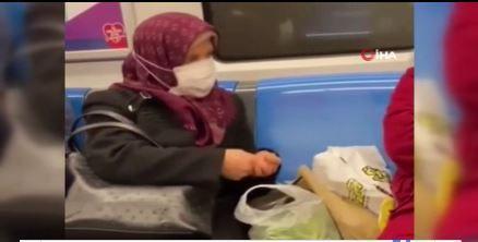 Metroda fasulye ayıklayan teyze sosyal medyanın gündemi