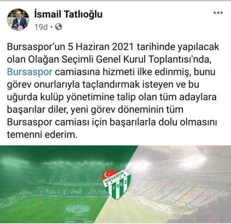 İsmail Tatlıoğlu'dan dikkat çeken Bursaspor paylaşımı