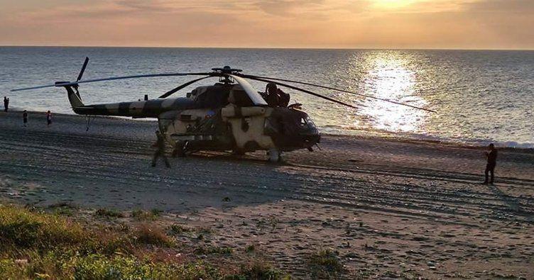Azerbaycan'a ait helikopter plaja acil iniş yaptı