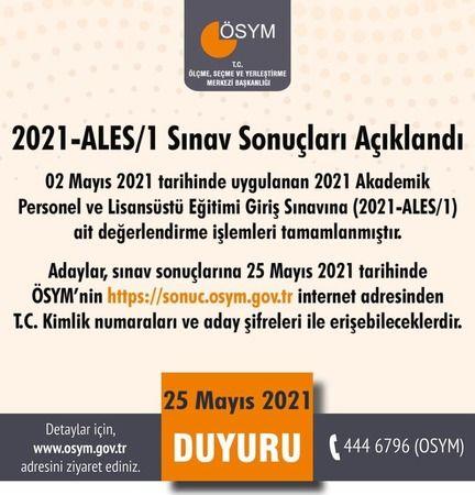 ÖSYM Başkanlığı ALES Sınav sonuçlarını açıkladı
