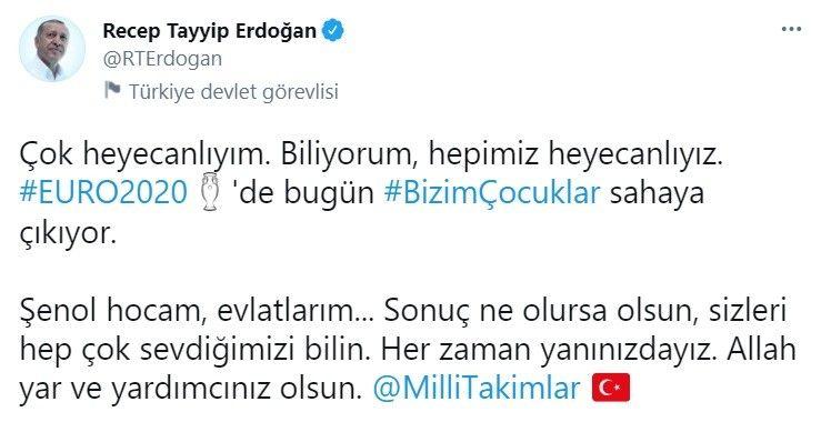 Cumhurbaşkanı Erdoğan'dan Millilere tam destek